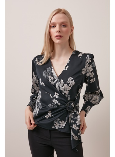 Gusto Anvelop Kesim Tokalı Bluz - Siyah Anvelop Kesim Tokalı Bluz - Siyah Siyah